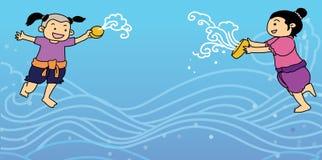 Illustrazione tailandese di festival dell'acqua di Songkran di nuovo anno Fotografia Stock