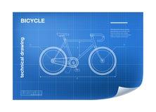 Illustrazione tecnica con il disegno della bicicletta Fotografia Stock