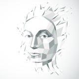 Illustrazione tecnologica moderna di personalità, gray di vettore 3d Fotografia Stock Libera da Diritti
