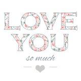Illustrazione tenera per la vostra cartolina d'auguri per il giorno di S. Valentino della st con amore floreale di scrittura dell Immagini Stock Libere da Diritti