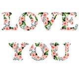 Illustrazione tenera per la vostra cartolina d'auguri per il giorno di S. Valentino della st con amore floreale di scrittura dell Fotografia Stock