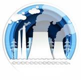 Illustrazione termica di vettore della centrale elettrica nello stile di carta di arte Fotografie Stock Libere da Diritti