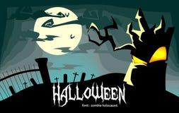 Illustrazione terrificante di Halloween di vettore con l'albero morto vivo in blu illustrazione di stock