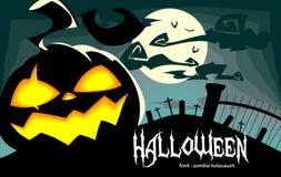 Illustrazione terrificante di Halloween di vettore con la zucca di risata in blu royalty illustrazione gratis