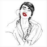 Illustrazione, testa della giovane donna con lo smorfia allegro immagine stock