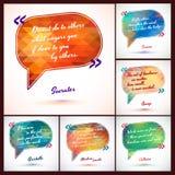 Illustrazione tipografica del fondo con il pacchetto di citazioni Idea abile dal saggio, frase di motivazione Fotografie Stock