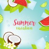 Illustrazione tipografica di festa di ora legale di vettore Piante tropicali, palma, frutti, fiori Anguria, calce Fotografie Stock