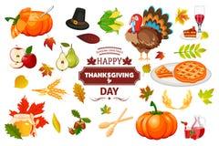 Illustrazione tradizionale di vettore di celebrazione del raccolto dell'alimento di festa della zucca di autunno delle icone di r Fotografia Stock Libera da Diritti