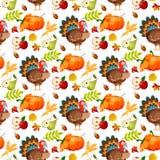 Illustrazione tradizionale senza cuciture di vettore di celebrazione del raccolto dell'alimento di festa della zucca di autunno d Fotografia Stock Libera da Diritti