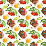 Illustrazione tradizionale senza cuciture di vettore di celebrazione del raccolto dell'alimento di festa della zucca di autunno d Fotografia Stock