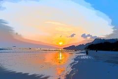 Illustrazione - tramonto alla spiaggia con i raggi dorati ed il cielo infinito fotografia stock