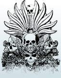 Illustrazione tribale dei crani Fotografia Stock