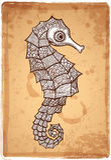 Illustrazione tribale dell'ippocampo di vettore Fotografia Stock Libera da Diritti