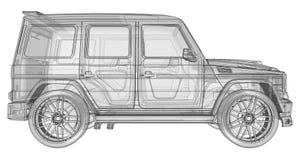 Illustrazione tridimensionale del quadro televisivo dell'automobile Mercedes-Benz G classe Versione di sintonia dell'automobile d Immagini Stock Libere da Diritti