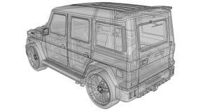 Illustrazione tridimensionale del quadro televisivo dell'automobile Mercedes-Benz G classe Versione di sintonia dell'automobile d Fotografie Stock