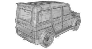Illustrazione tridimensionale del quadro televisivo dell'automobile Mercedes-Benz G classe Versione di sintonia dell'automobile d Fotografia Stock