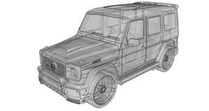 Illustrazione tridimensionale del quadro televisivo dell'automobile Mercedes-Benz G classe Versione di sintonia dell'automobile d Immagini Stock