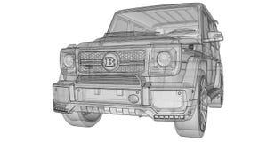 Illustrazione tridimensionale del quadro televisivo dell'automobile Mercedes-Benz G classe Versione di sintonia dell'automobile d Fotografia Stock Libera da Diritti