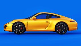 Illustrazione tridimensionale del quadro televisivo di Porsche 911 gialli su un fondo blu rappresentazione 3d royalty illustrazione gratis
