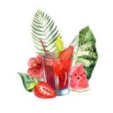 Illustrazione tropicale dell'acquerello con il cocktail, i frutti ed i fiori di estate illustrazione vettoriale