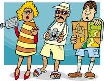 Illustrazione turistica del fumetto del gruppo Fotografia Stock