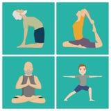 Illustrazione umana di stile di vita di pace di concentrazione della gente di meditazione della classe di caratteri di posizioni  illustrazione vettoriale