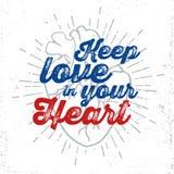 Illustrazione umana di vettore del cuore con iscrizione ispiratrice Fotografie Stock Libere da Diritti