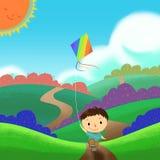 Illustrazione: Un bambino è eseguente e pilotante un aquilone nel campo variopinto Fotografia Stock Libera da Diritti