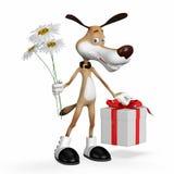 Illustrazione un cane con i fiori e un regalo. Immagini Stock