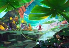 Illustrazione: Un piccolo principe e la sua Rosa è su un viaggio dell'avventura fantastica circa il riconoscimento dell'amore Immagini Stock