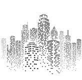 Illustrazione urbana della siluetta di paesaggio urbano di vettore Fotografia Stock