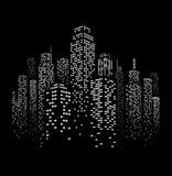Illustrazione urbana della siluetta di paesaggio urbano di vettore Immagini Stock