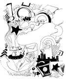 Illustrazione urbana disegnata a mano di musica Fotografia Stock
