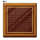 Illustrazione: Va il gioco, gli scacchi di Gomoku, scacchi di Renju riguardanti: Pezzi degli scacchi, scacchiera, ecc Fotografie Stock Libere da Diritti