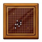 Illustrazione: Va il gioco, gli scacchi di Gomoku, scacchi di Renju riguardanti: Pezzi degli scacchi, scacchiera, ecc Immagini Stock