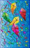 Illustrazione variopinta con gli aquiloni nel cielo, stile del vetro macchiato Immagini Stock