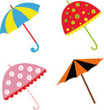 Illustrazione variopinta con gli ombrelli Fotografia Stock