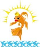 Illustrazione variopinta con un pesce rosso Fotografie Stock