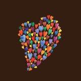 Illustrazione variopinta degli acquerelli dei cuori Bella cartolina per il San Valentino Cuori variopinti Immagini Stock Libere da Diritti
