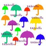 Illustrazione variopinta degli ombrelli su fondo bianco fotografia stock