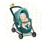 Illustrazione variopinta del bambino bambino sveglio in una carrozzina per una passeggiata immagine su un fondo ornamentale Fotografia Stock Libera da Diritti