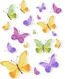 Illustrazione variopinta del fondo del modello di vettore delle farfalle Fotografie Stock Libere da Diritti