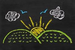 Illustrazione variopinta del gesso dell'aumento del sole Fotografie Stock Libere da Diritti