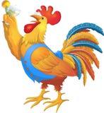 Illustrazione variopinta del personaggio dei cartoni animati del gallo Progettazione 2017 di simbolo del nuovo anno Fotografie Stock Libere da Diritti