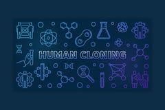 Illustrazione variopinta del profilo della clonazione umana Bandiera di vettore illustrazione vettoriale