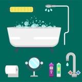 Illustrazione variopinta della doccia moderna delle icone dell'attrezzatura del bagno per progettazione interna di vettore di igi Fotografia Stock