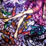 Illustrazione variopinta della ragazza con le scarpe illustrazione vettoriale