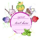 Illustrazione variopinta di vettore del ghiaccio e del dessert royalty illustrazione gratis