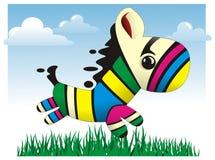 Illustrazione variopinta di vettore della zebra del bambino Immagini Stock