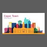 Illustrazione variopinta di vettore di architettura di Cape Town Immagini Stock Libere da Diritti